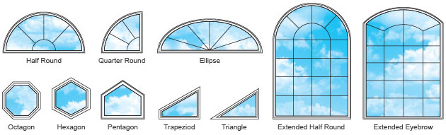 Just a few of the many design options for architectural shaped windows.