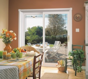 Decorative full view patio door