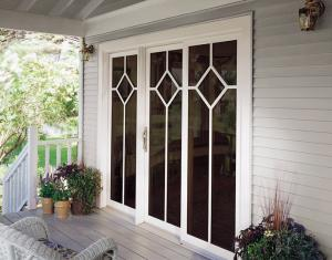 Patio door with decorative grid